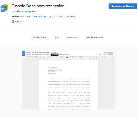 Extension Google Doc Hors extension