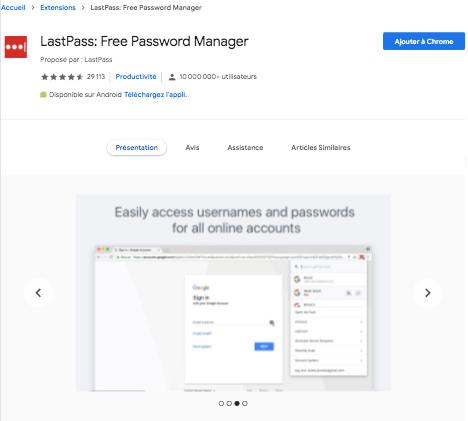 Extension Chrome LastPass