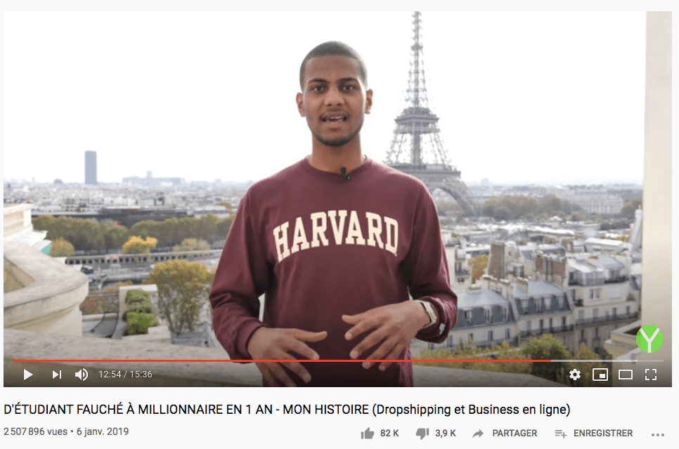 Yomi Denzel dropshipper la video entrepreneur la plus vue sur youtube en france