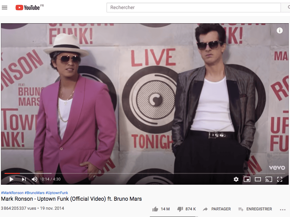 Uptown Funk Mark Ronson Bruno Mars 6eme video la plus vue sur Youtube