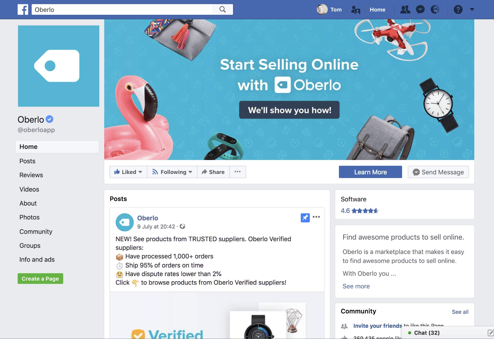 page facebook oberlo