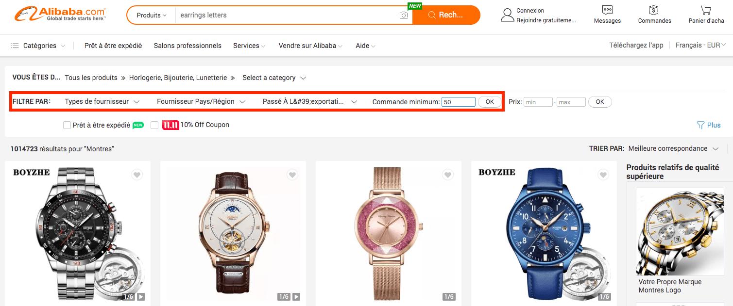filtre MOQ Alibaba