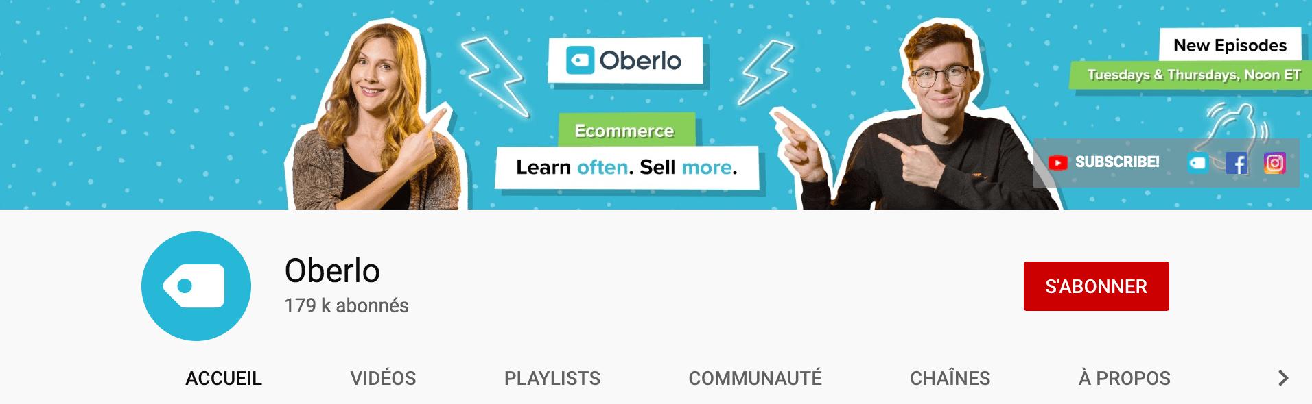 Oberlo chaîne YouTube