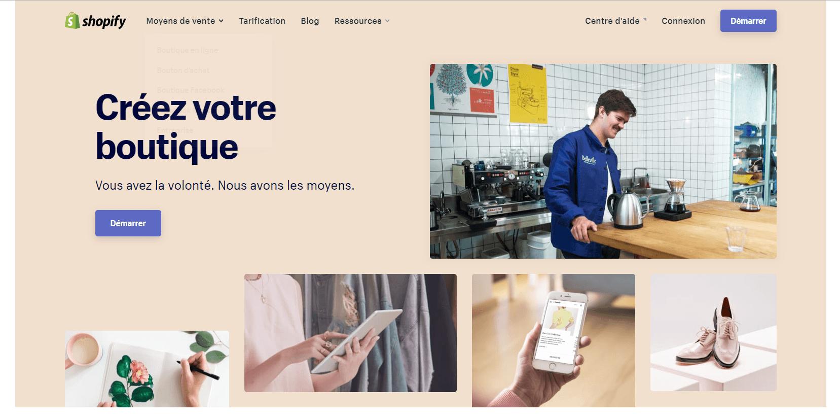 shopify pour ouvrir une boutique en ligne