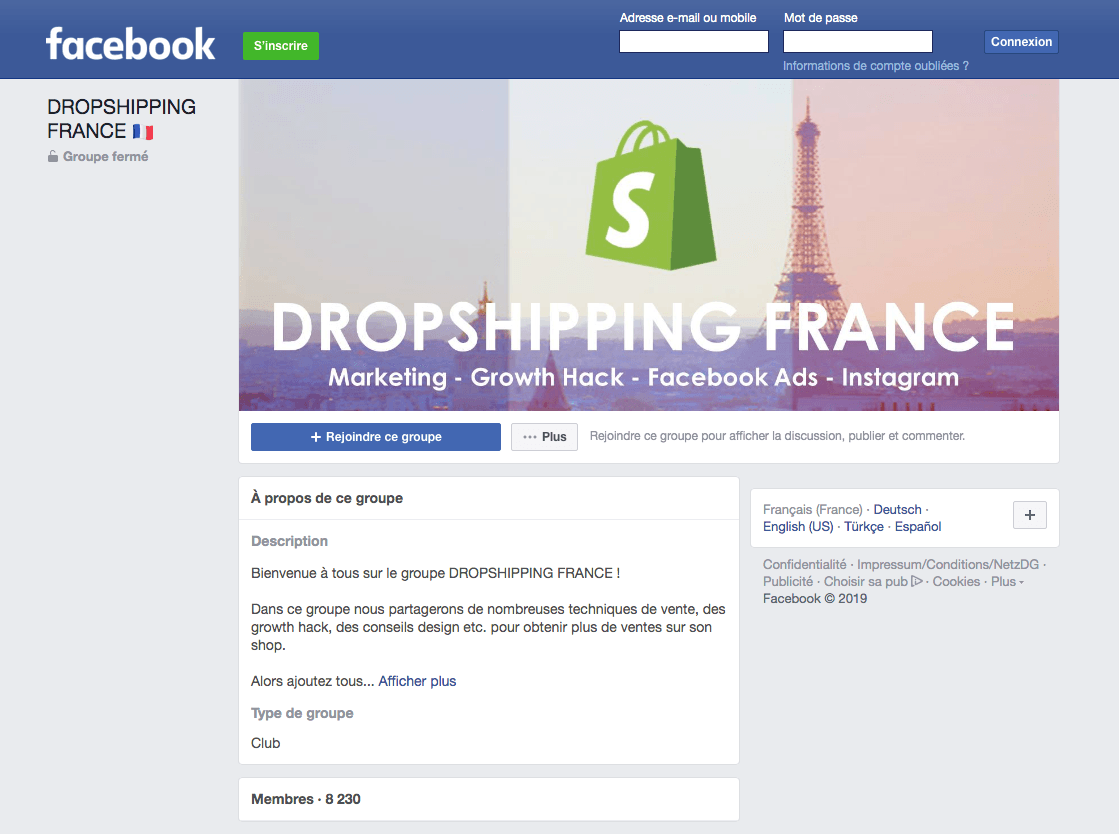 Groupe Facebook dropshipping France