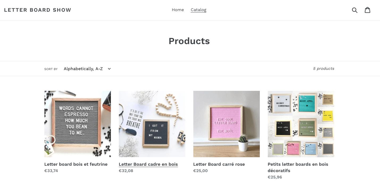 Produits en ligne sur Shopify