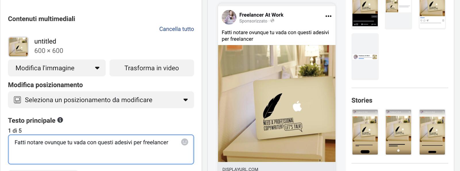 Creazione annuncio Instagram Ads