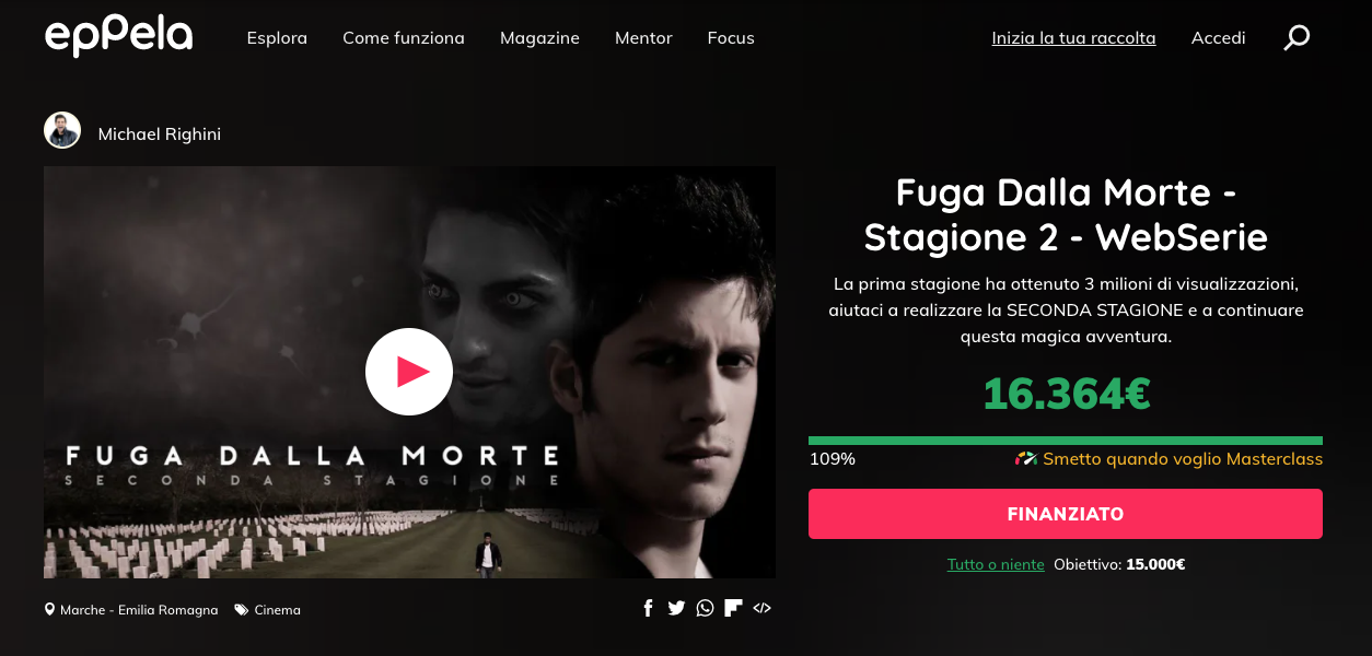 Fuga dalla morte - Michael Righini crowdfunding