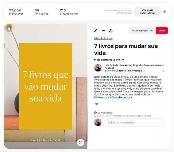 O que é Pinterest: conteúdo próprio em um pin