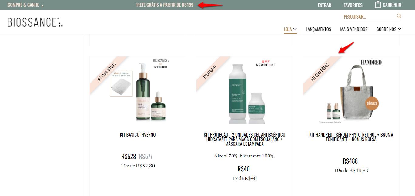 Ideia de marketing para Black Week: frete grátis e brinde, na página da Biossance