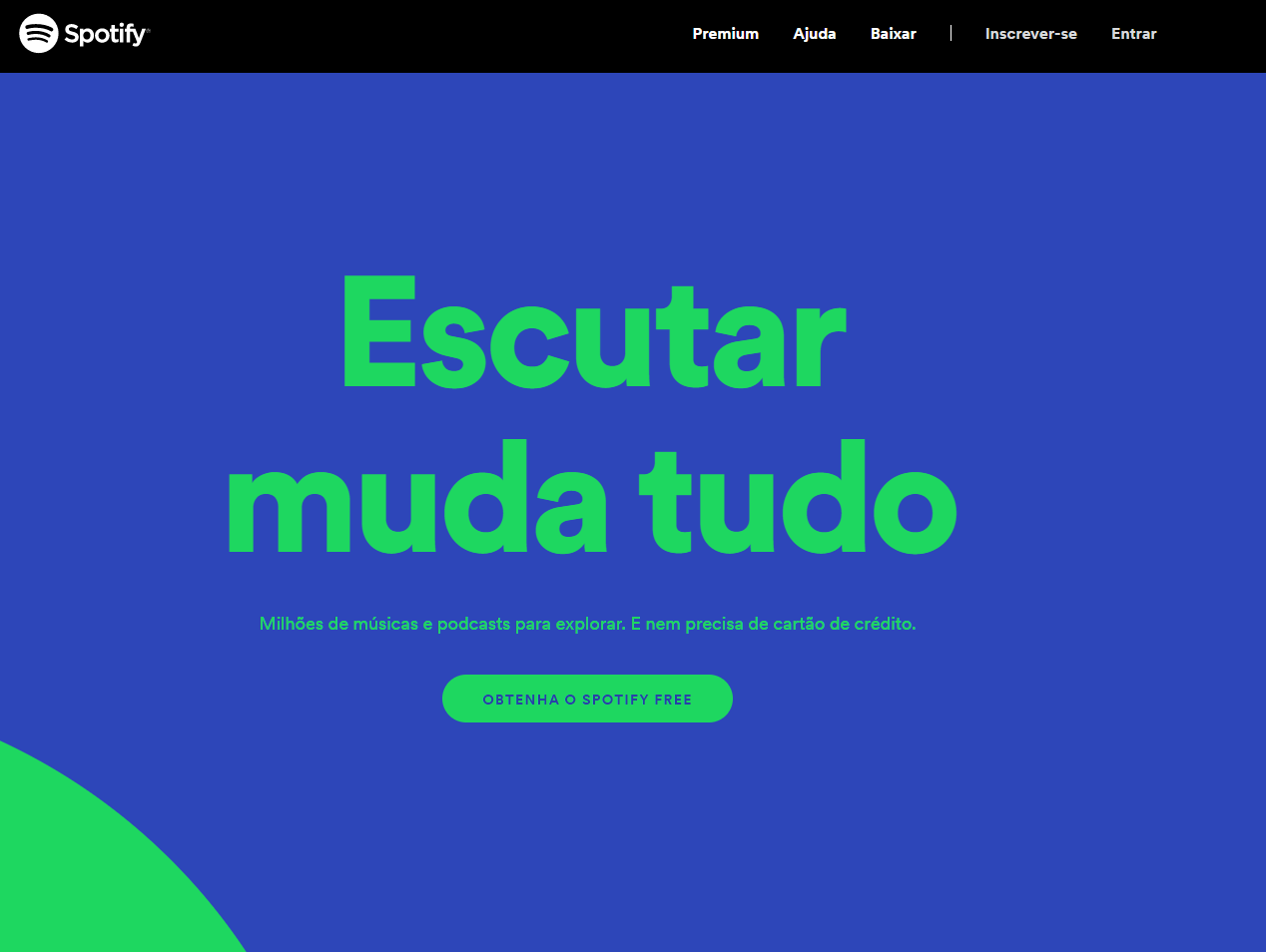 Exemplos de landing pages minimalistas: Spotify