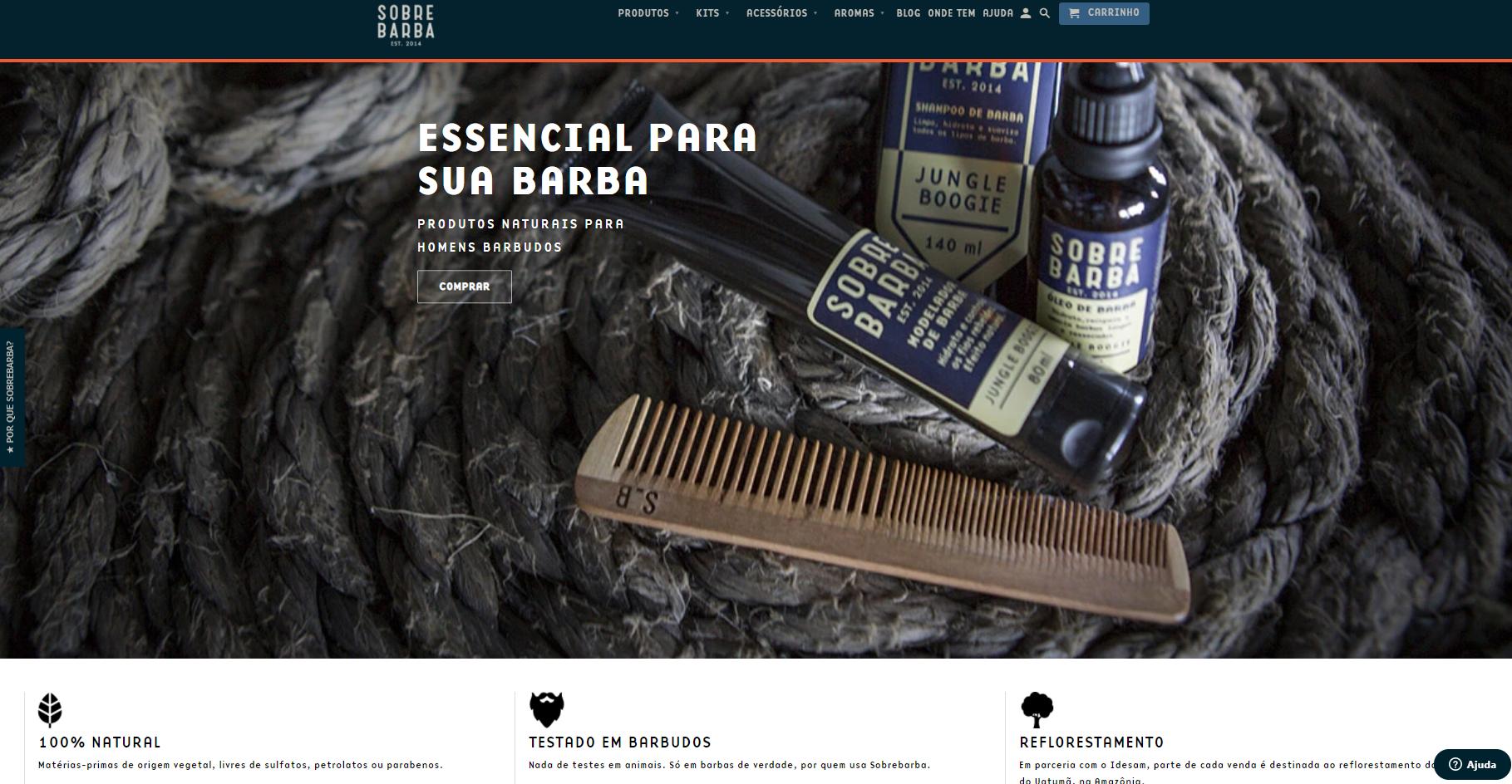 Landing page para loja virtual: Sobrebarba