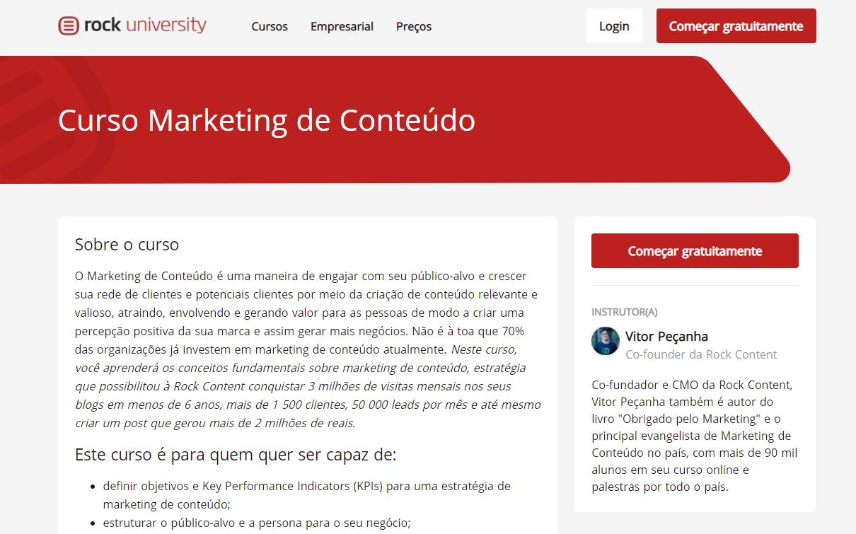 Curso online para empreendedores: Curso de marketing de conteúdo, da Rock Content