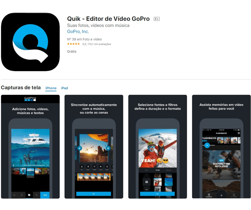 quik, app para stories