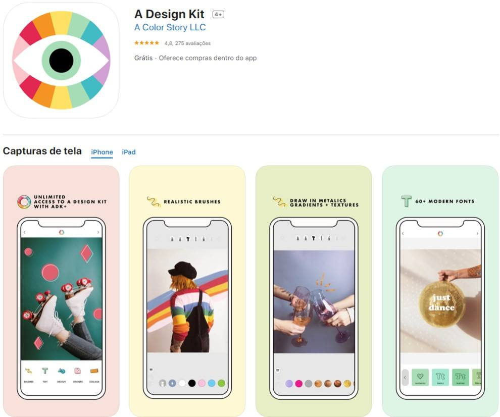 a design kit, app para insta stories