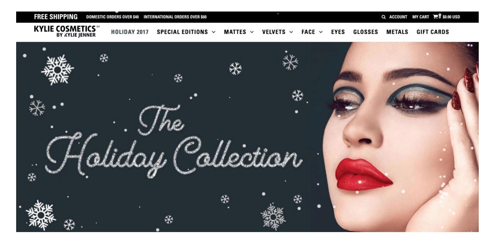 e-commerce inspirador Kylie Cosmetics