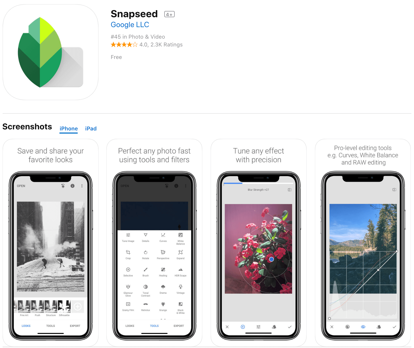 snapseed migliori app per editing foto