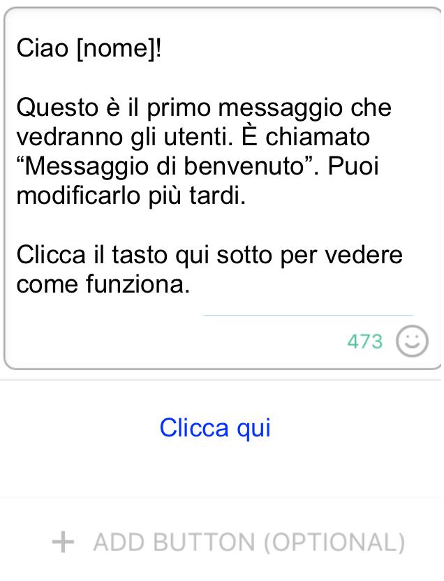 chatbot di facebook messaggio
