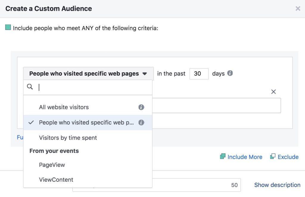 créer une audience facebook pixel