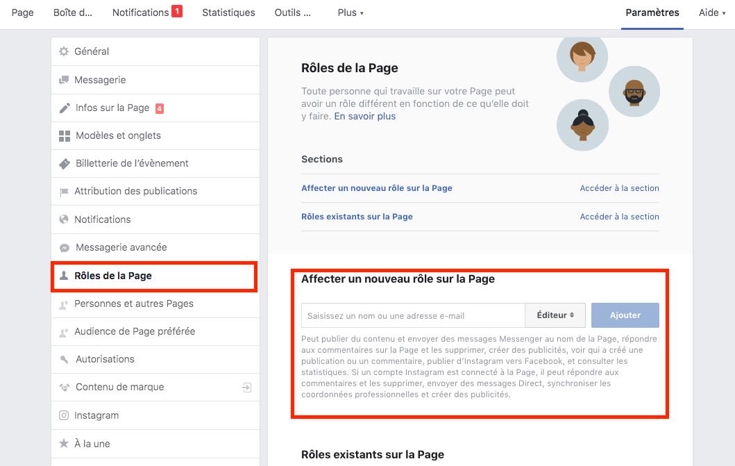 rôle page facebook