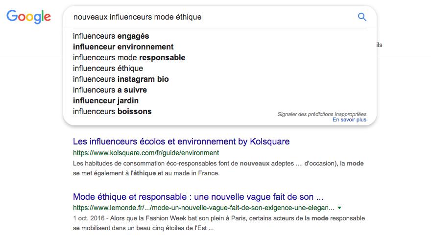 suggestions de résultats Google
