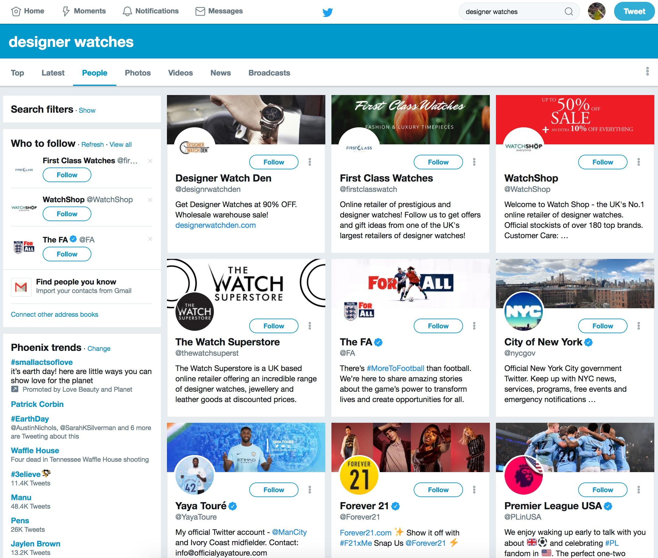 designer watches - increase twitter followers