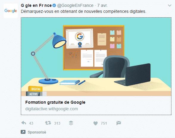 Exemple de tweet sponsorisé