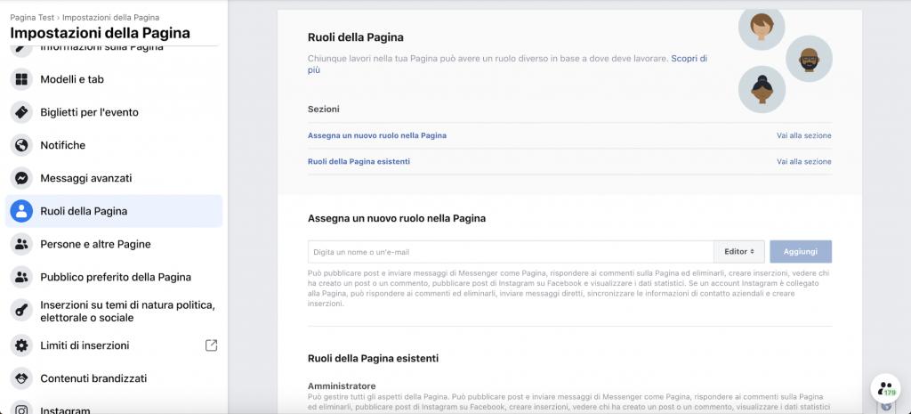 come creare una pagina facebook: ruoli della pagina