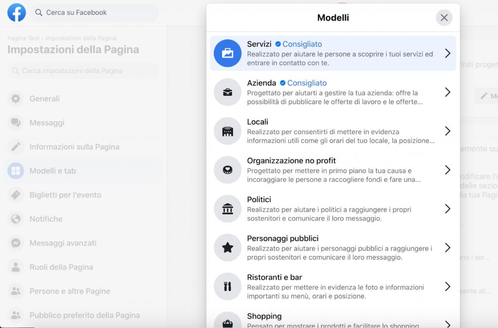 come creare una pagina facebook: modelli