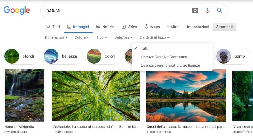 Google ricerca avanzata per immagini royalty free