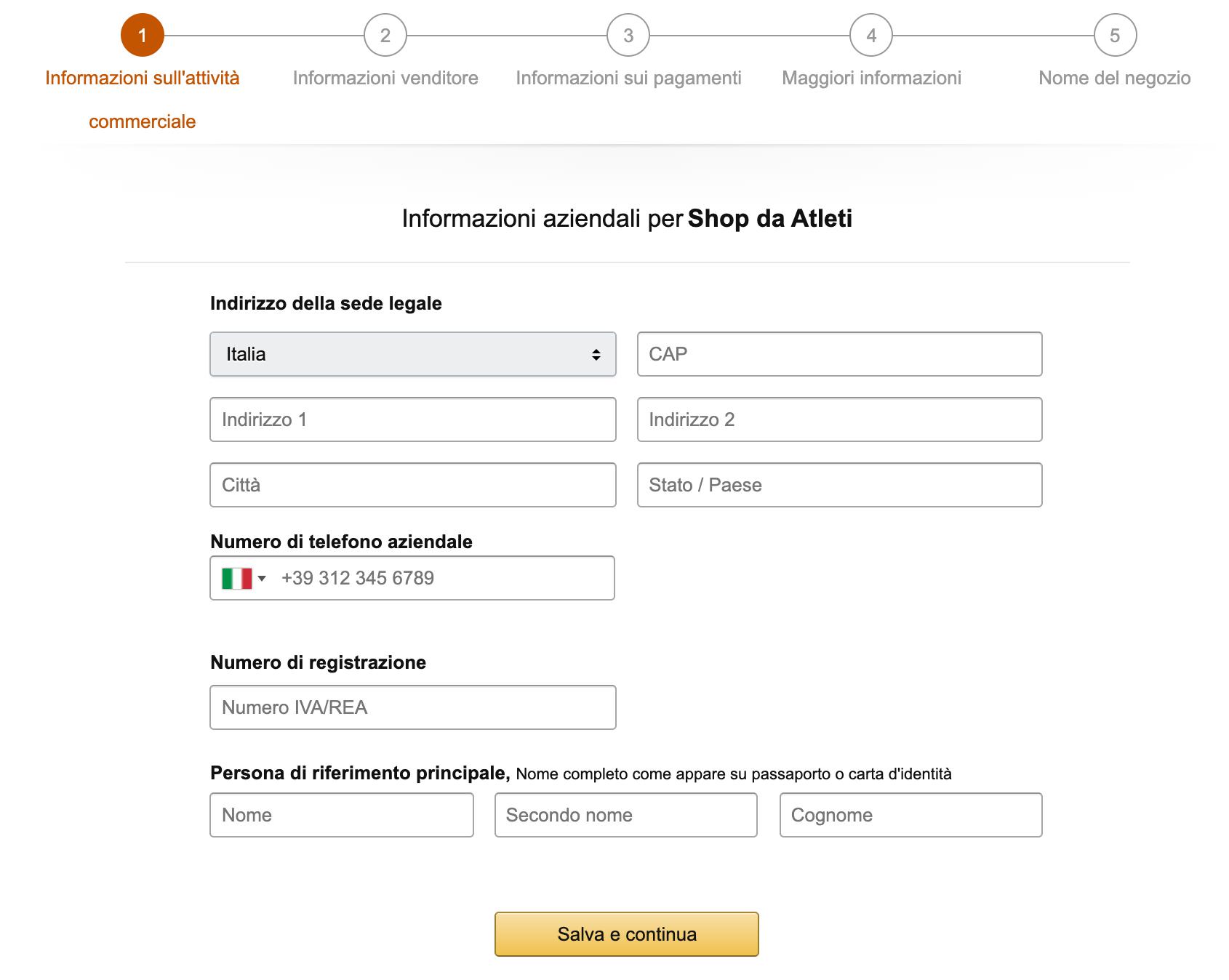 creare account venditore amazon