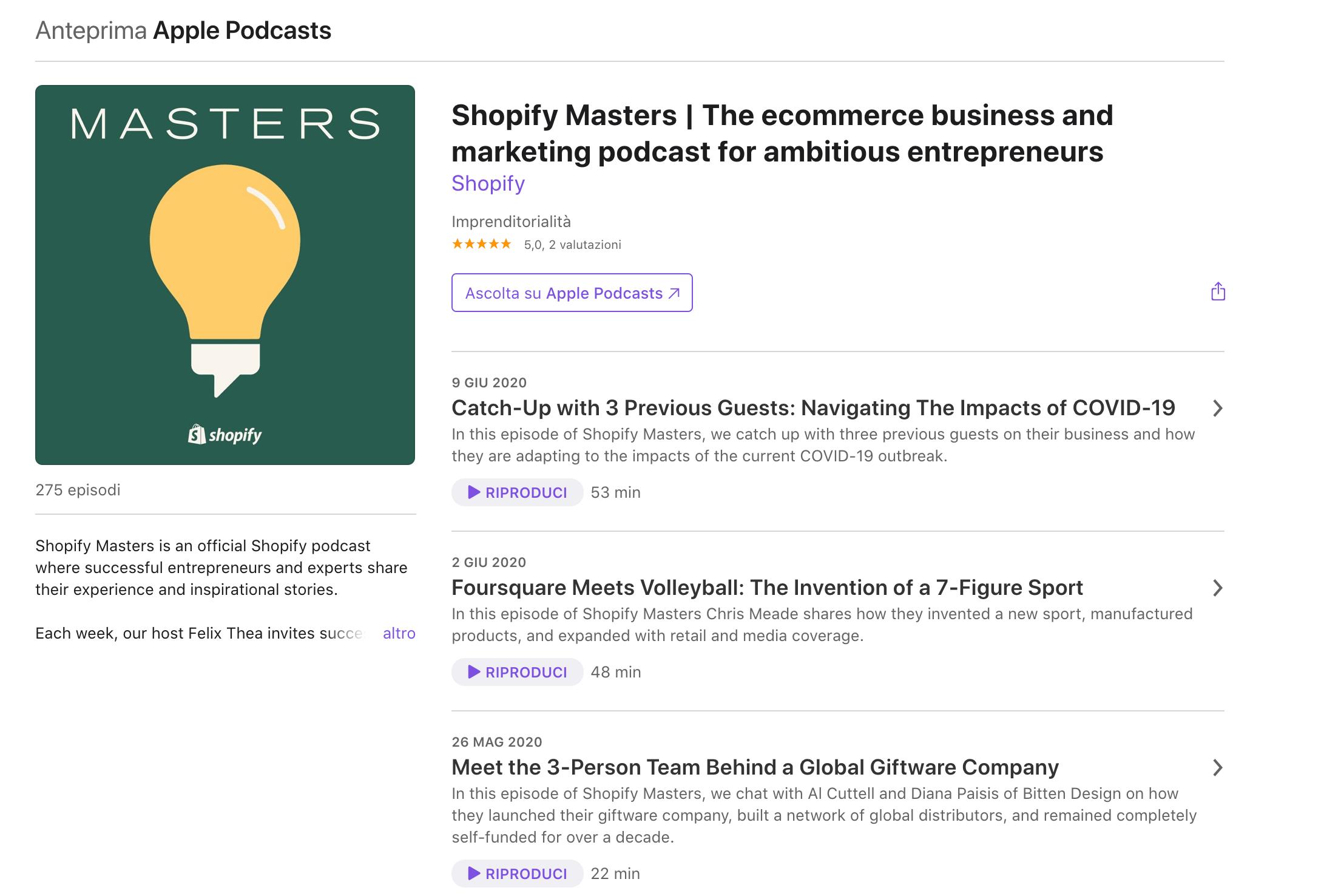 podcast shopify