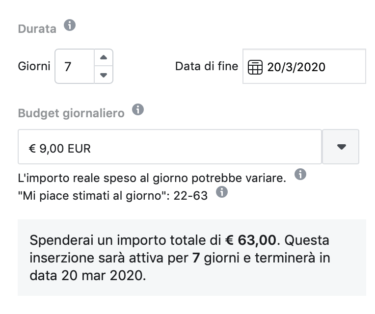 budget e durata facebook ads