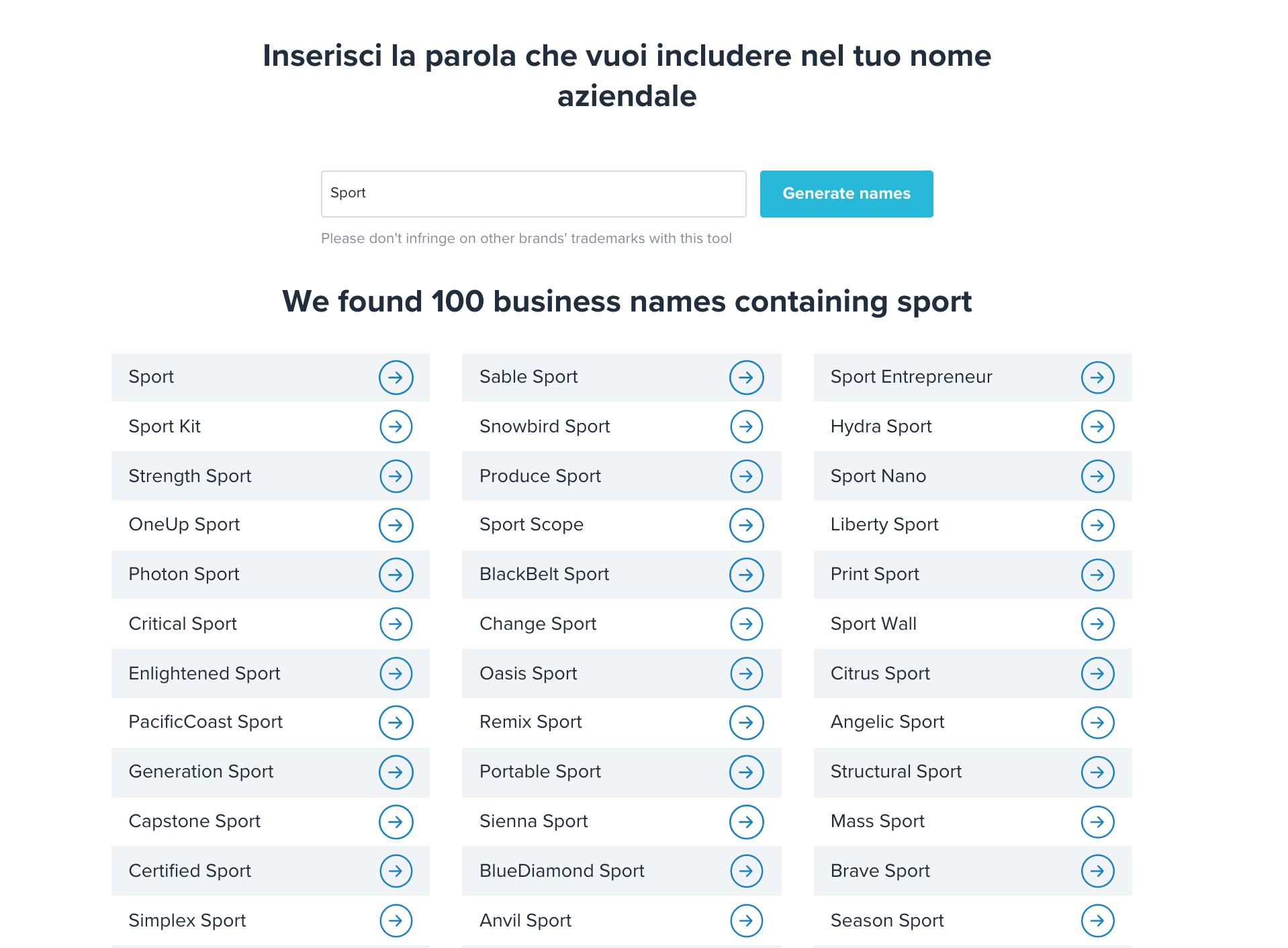 naming con generatore di nomi