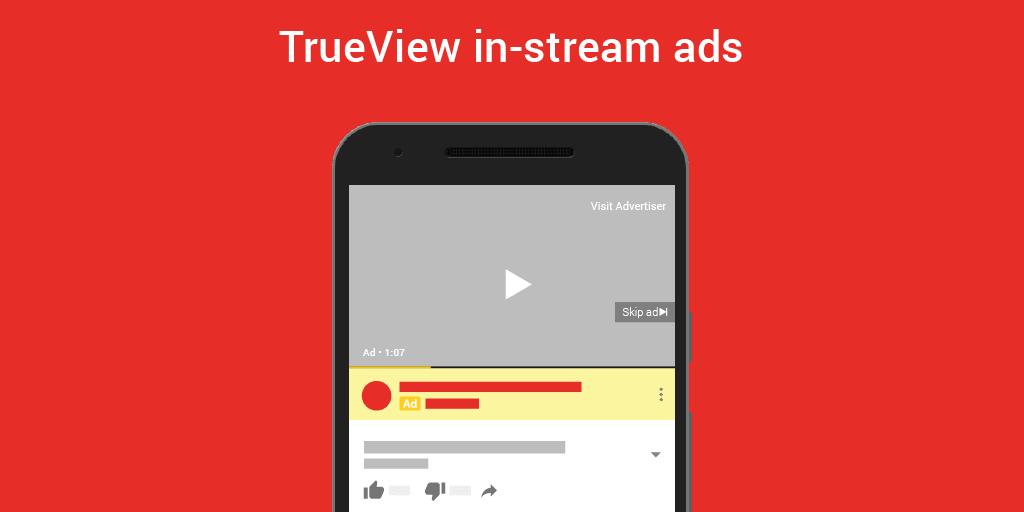 Publicité TrueView In-Stream YouTube Ads