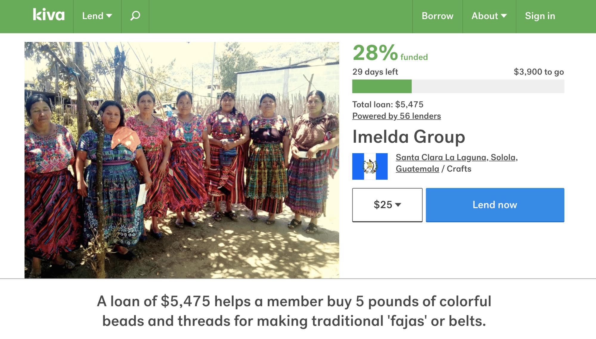 Campagne de financement Kiva