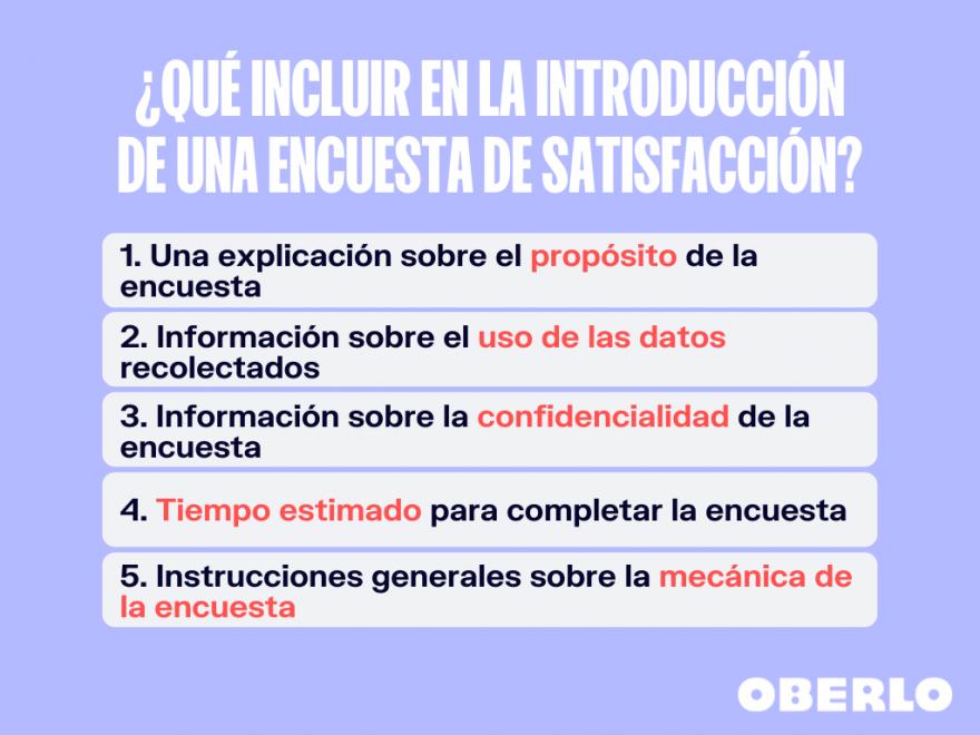 elementos de la introduccion de una encuesta de satisfaccion