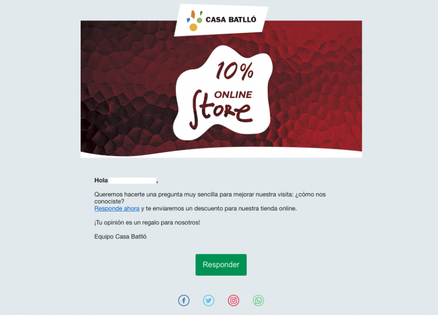 email marketing y encuesta de satisfaccion - casa batllo