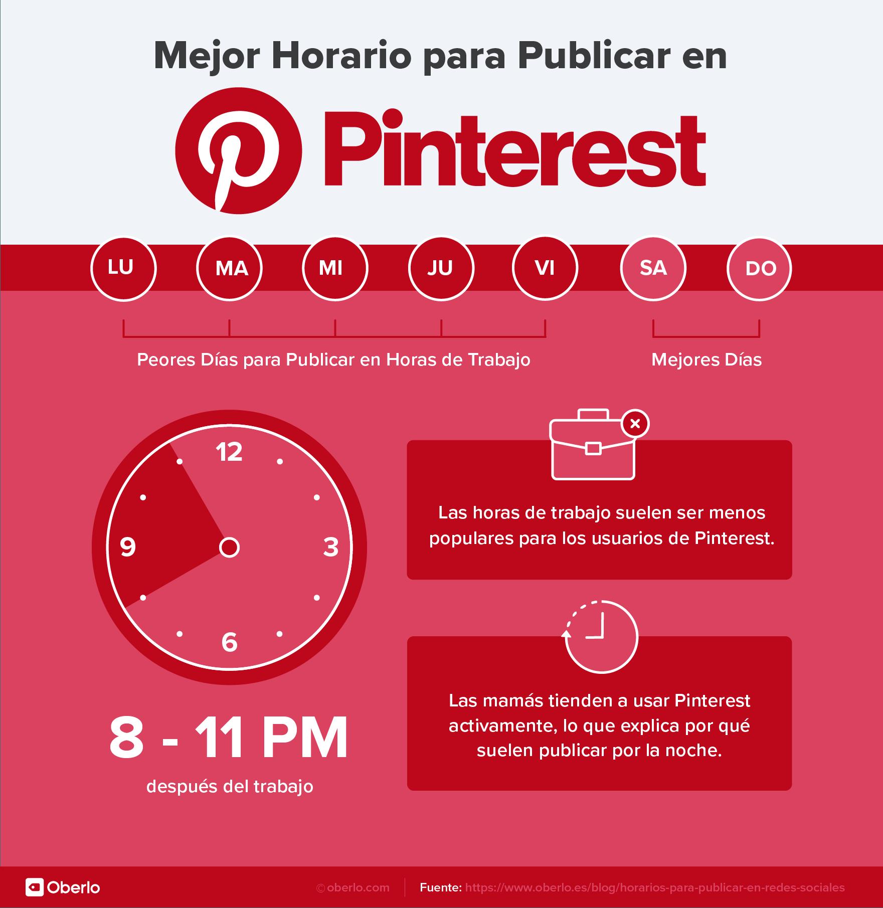 horarios pinterest