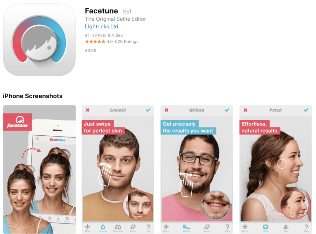 aplicaciones para fotos Facetune Photo Editing App