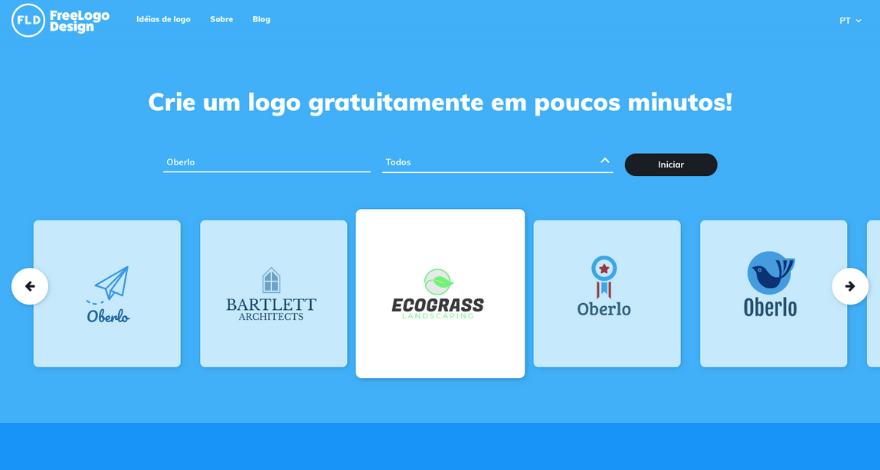 FreeLogo Design crie logos grátis