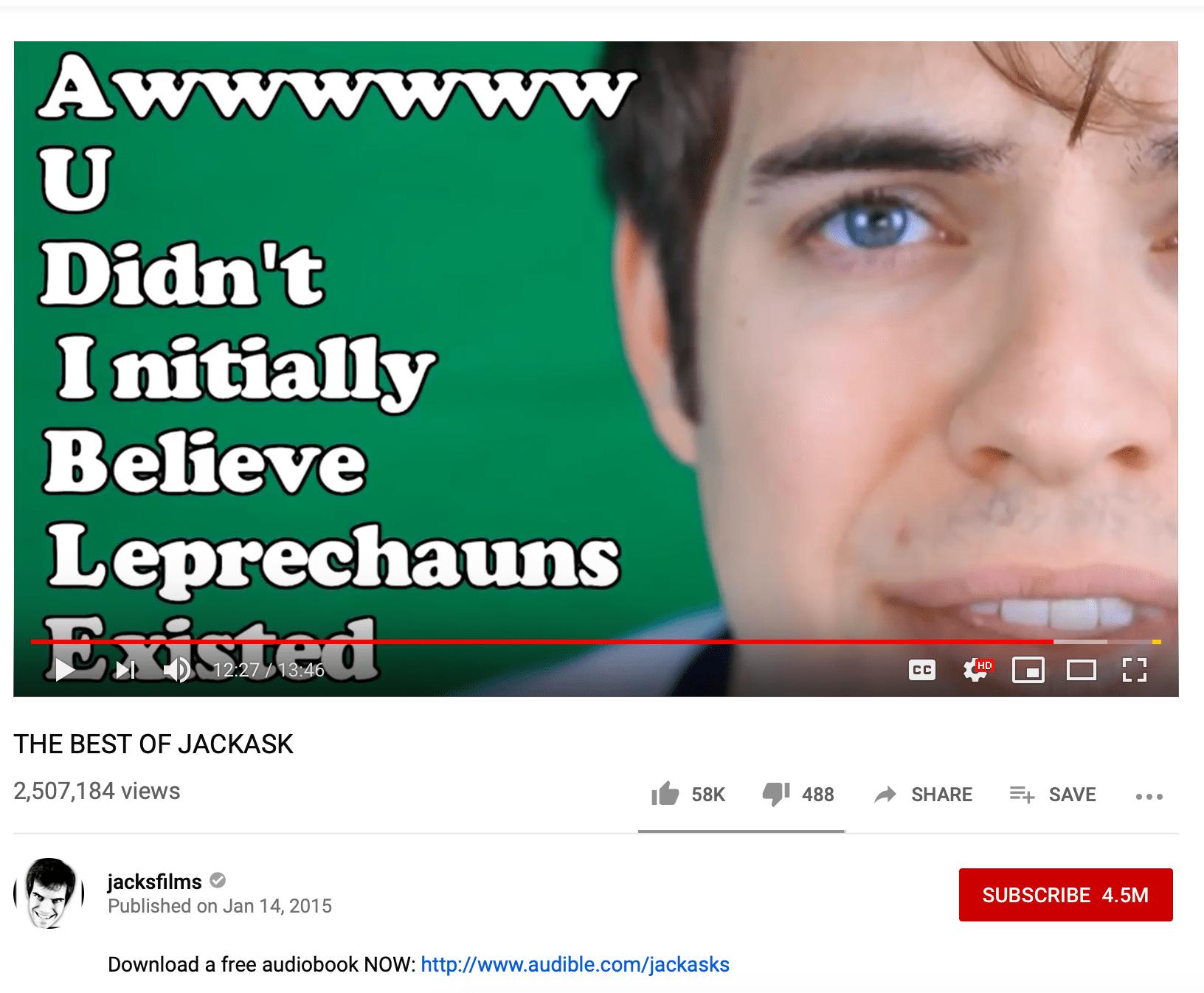 Screenshot of Youtube influencer Jacksfilms