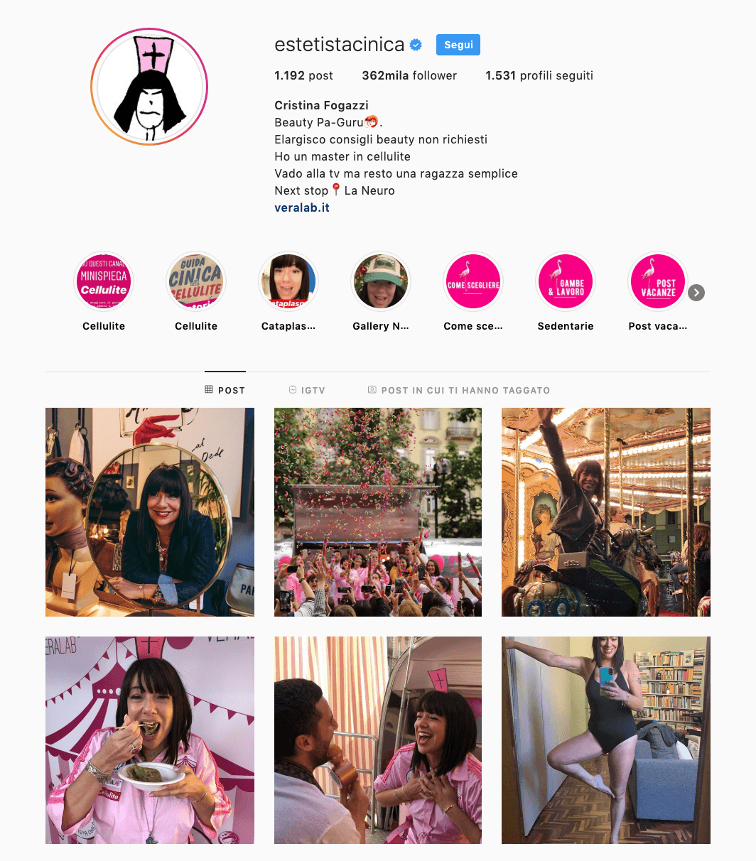 profilo instagram estetista cinica
