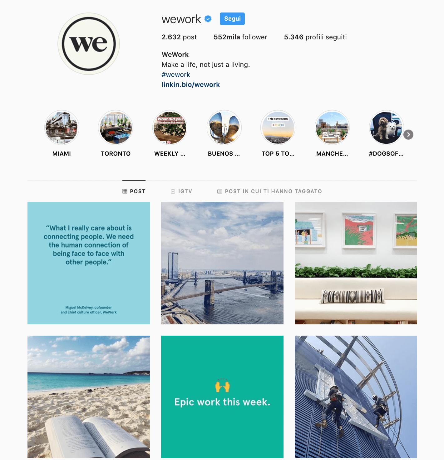 Social media marketing WeWork