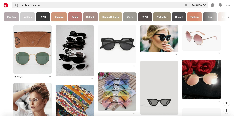 Pinterest: ricerca prodotti