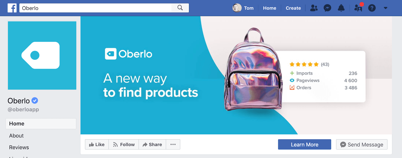 Page facebook Oberlo et photo de profil facebook