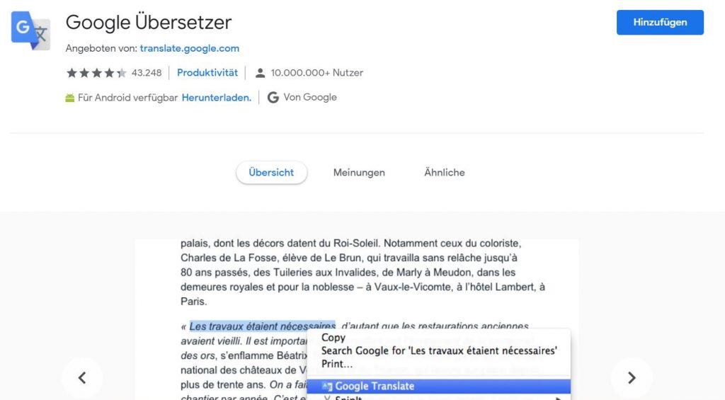 Google Übersetzer als Chrome Erweiterung