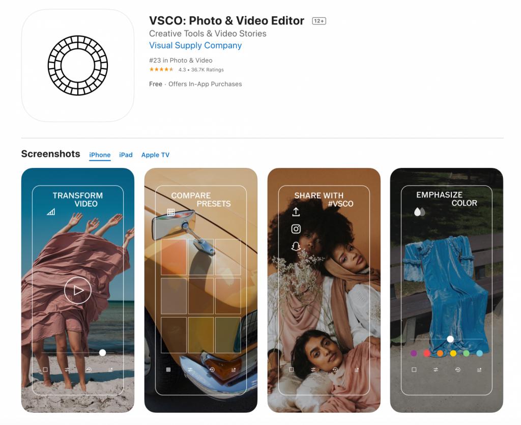 VSCO Fotobearbeitung