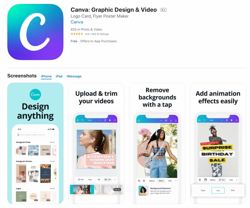 Canva App Bilder bearbeiten
