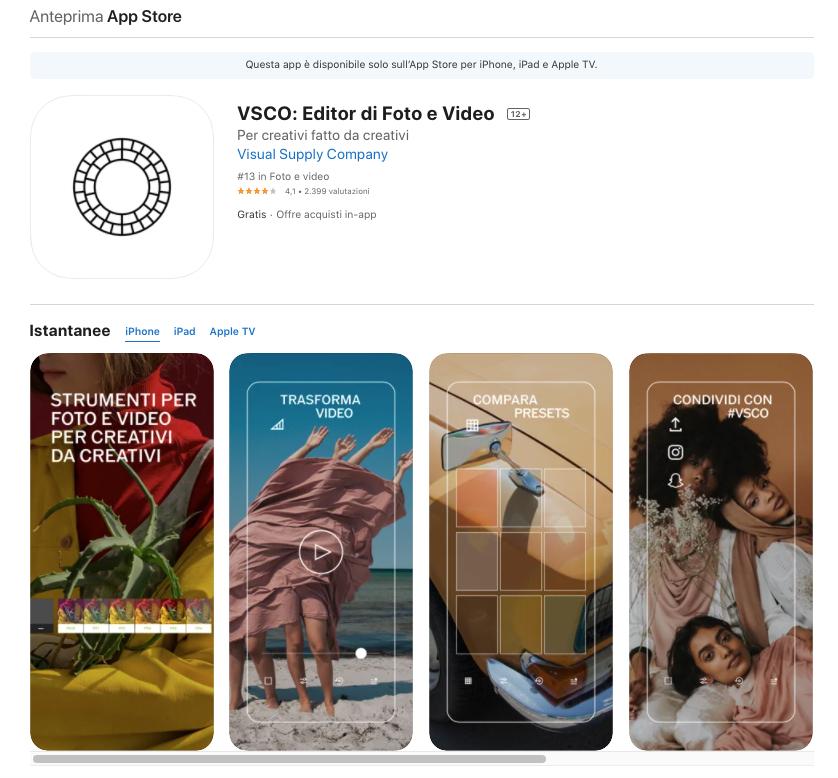VSCO: migliori app per modificare foto iOS e Android